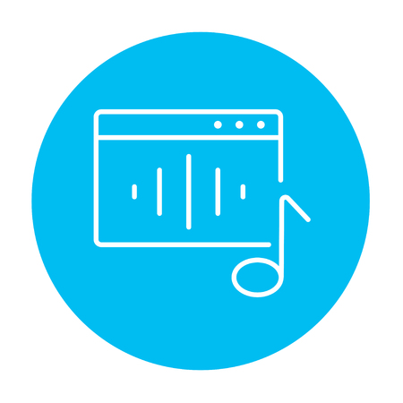 Radio line icon for web, mobile and infographics. Vector white icon on the light blue circle isolated on white background. Ilustrace