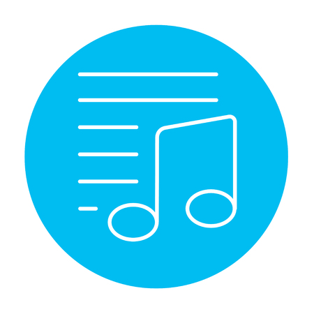 melodious: Musical note line icon for web, mobile and infographics. Vector white icon on the light blue circle isolated on white background.
