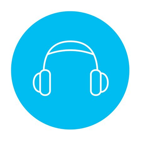 Headphone line icon for web, mobile and infographics. Vector white icon on the light blue circle isolated on white background. Illustration