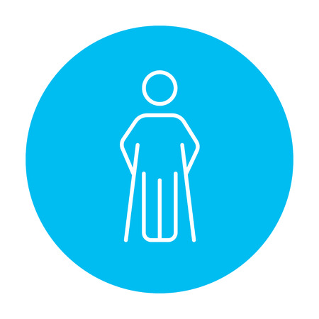 hobble: Man with crutches line icon for web, mobile and infographics. Vector white icon on the light blue circle isolated on white background.