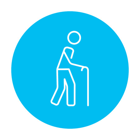 gerontology: Man walking with cane line icon for web, mobile and infographics. Vector white icon on the light blue circle isolated on white background.