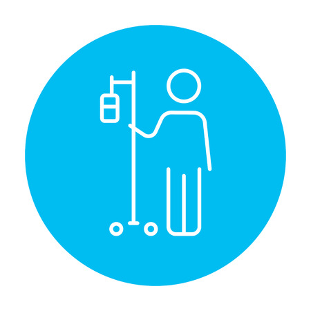 intravenous: Patient standing with intravenous dropper line icon for web, mobile and infographics. Vector white icon on the light blue circle isolated on white background.