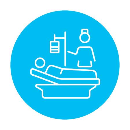 간호사 웹, 모바일 및 infographics 침대 라인 아이콘에 누워 환자에 참석. 흰색 배경에 고립 된 빛 파란색 원 안에 벡터 흰색 아이콘.