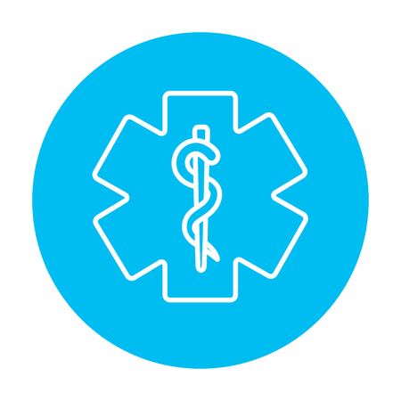 therapeutics: Medical symbol line icon for web, mobile and infographics. Vector white icon on the light blue circle isolated on white background.