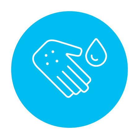 Hand with microbes and water drop line icon for web, mobile and infographics. Vector white icon on the light blue circle isolated on white background. Illustration