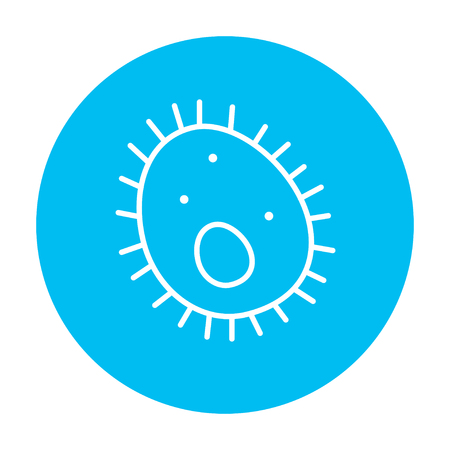 epidemiology: Bacteria line icon for web, mobile and infographics. Vector white icon on the light blue circle isolated on white background. Illustration