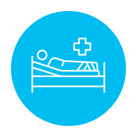 bedridden: Patient lying on the bed line icon for web, mobile and infographics. Vector white icon on the light blue circle isolated on white background.