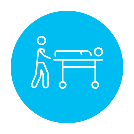 Man pushing stretchers with patient line icon for web, mobile and infographics. Vector white icon on the light blue circle isolated on white background. Ilustração