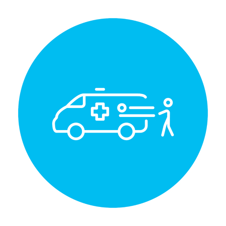 Man pushing stretchers with patient in ambulance car line icon for web, mobile and infographics. Vector white icon on the light blue circle isolated on white background.