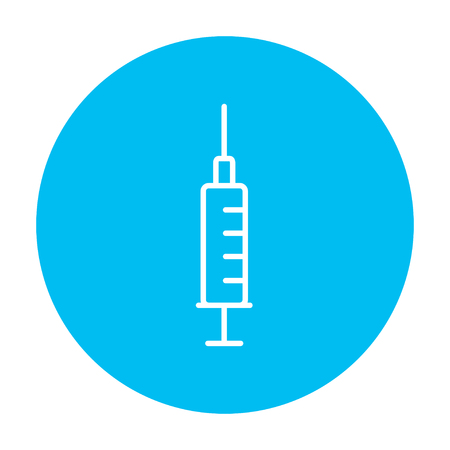 Syringe line icon for web, mobile and infographics. Vector white icon on the light blue circle isolated on white background. Stock Vector - 49884954