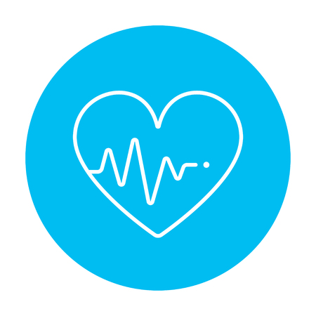 hand beats: Heart symbol with cardiogram line icon for web, mobile and infographics. Vector white icon on the light blue circle isolated on white background. Illustration