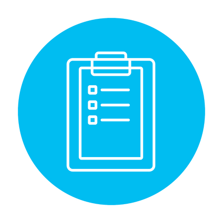 Medical report line icon for web, mobile and infographics. Vector white icon on the light blue circle isolated on white background. 矢量图像