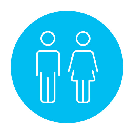 Couple line icon for web, mobile and infographics. Vector white icon on the light blue circle isolated on white background. 向量圖像