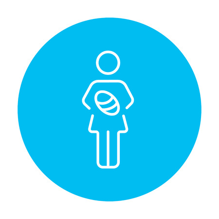 obstetrician: Woman holding the baby line icon for web, mobile and infographics. Vector white icon on the light blue circle isolated on white background.