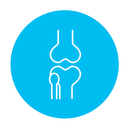 bursa: Knee joint line icon for web, mobile and infographics. Vector white icon on the light blue circle isolated on white background.