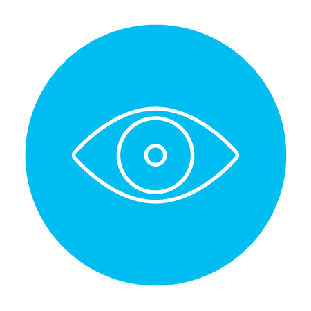 shortsighted: Eye line icon for web, mobile and infographics. Vector white icon on the light blue circle isolated on white background.