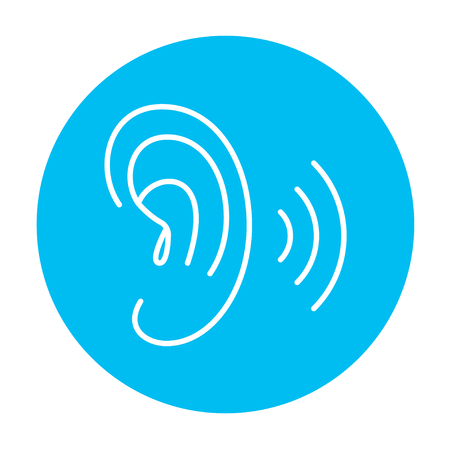 audible: Human ear line icon for web, mobile and infographics. Vector white icon on the light blue circle isolated on white background. Illustration