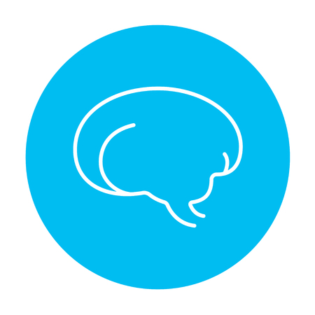 neuronal: Brain line icon for web, mobile and infographics. Vector white icon on the light blue circle isolated on white background. Illustration