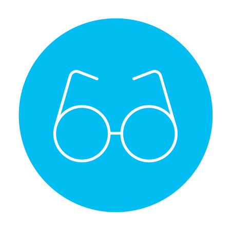corrective: Eyeglasses line icon for web, mobile and infographics. Vector white icon on the light blue circle isolated on white background. Illustration