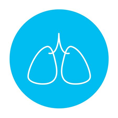 alveolus: Lungs line icon for web, mobile and infographics. Vector white icon on the light blue circle isolated on white background.