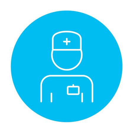 medico: Nurse line icon for web, mobile and infographics. Vector white icon on the light blue circle isolated on white background.