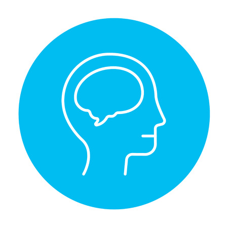 neuronal: Human head with brain line icon for web, mobile and infographics. Vector white icon on the light blue circle isolated on white background.
