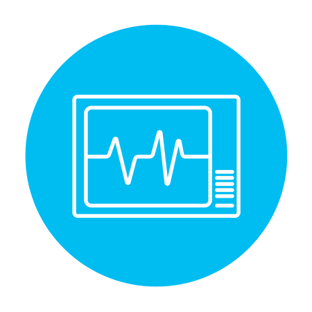 heart monitor: Heart monitor line icon for web, mobile and infographics. Vector white icon on the light blue circle isolated on white background.