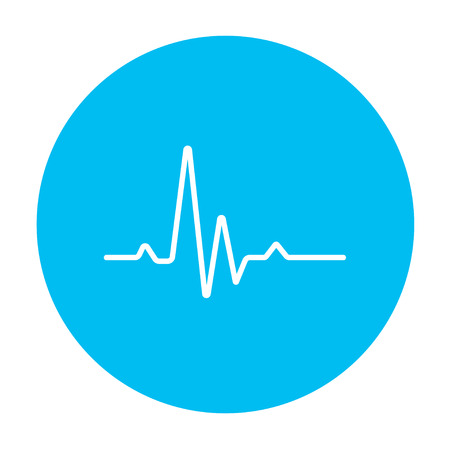 Hheart beat cardiogram line icon for web, mobile and infographics. Vector white icon on the light blue circle isolated on white background. Illustration