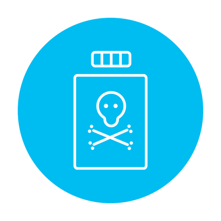 poison bottle: Bottle of poison line icon for web, mobile and infographics. Vector white icon on the light blue circle isolated on white background.
