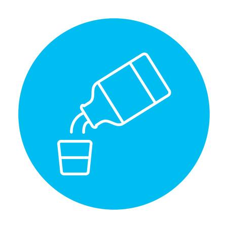 Geneeskunde en maatbeker lijn pictogram voor web, mobiel en infographics. Vector witte pictogram op de lichtblauwe cirkel op een witte achtergrond.