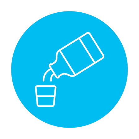 cough syrup: Medicine and measuring cup line icon for web, mobile and infographics. Vector white icon on the light blue circle isolated on white background.