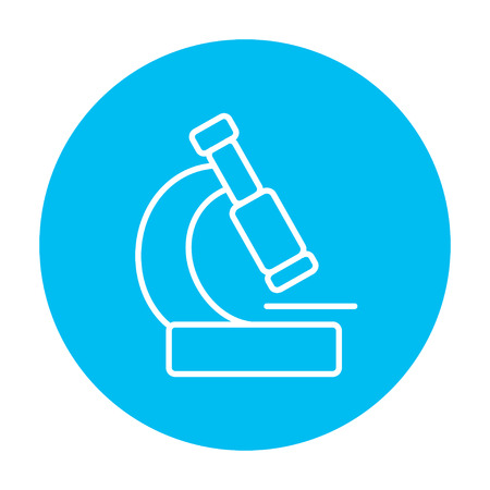 enlargement: Microscope line icon for web, mobile and infographics. Vector white icon on the light blue circle isolated on white background.