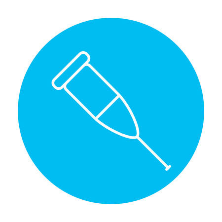 forearm: Crutch line icon for web, mobile and infographics. Vector white icon on the light blue circle isolated on white background.