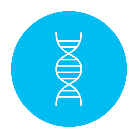 DNA line icon for web, mobile and infographics. Vector white icon on the light blue circle isolated on white background. Stock Illustratie