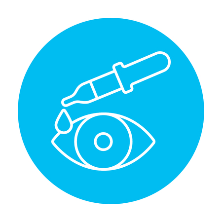 eye pipette: Pipette and eye line icon for web, mobile and infographics. Vector white icon on the light blue circle isolated on white background. Illustration