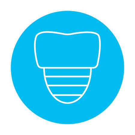 implanted: Tooth implant line icon for web, mobile and infographics. Vector white icon on the light blue circle isolated on white background.