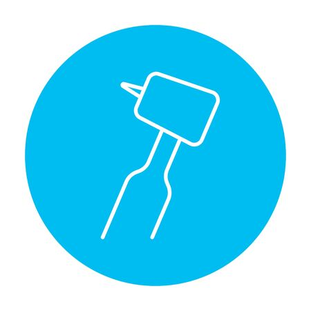 dental hygienist: Dental drill line icon for web, mobile and infographics. Vector white icon on the light blue circle isolated on white background.