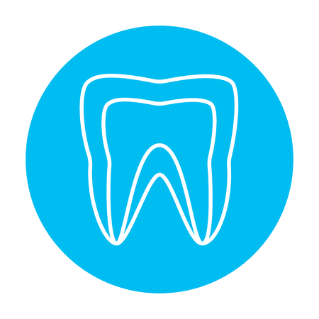 molar: Molar tooth line icon for web, mobile and infographics. Vector white icon on the light blue circle isolated on white background.