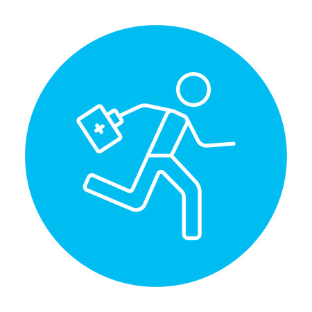 paramedic: Paramedic running with first aid kit line icon for web, mobile and infographics. Vector white icon on the light blue circle isolated on white background. Illustration