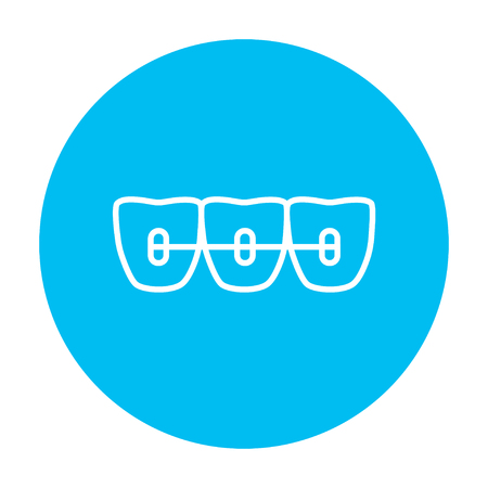outline drawing: Orthodontic braces line icon for web, mobile and infographics. Vector white icon on the light blue circle isolated on white background.