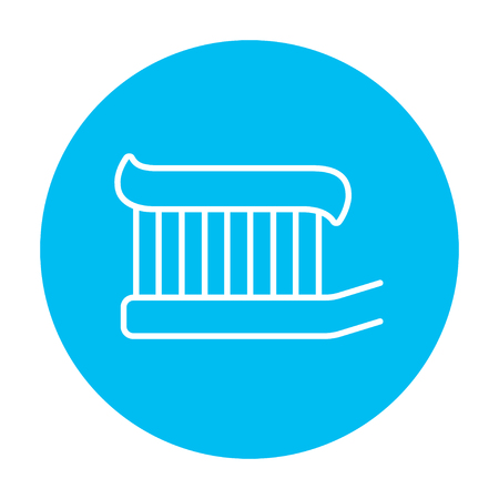 Toothbrush with toothpaste line icon for web, mobile and infographics. Vector white icon on the light blue circle isolated on white background.