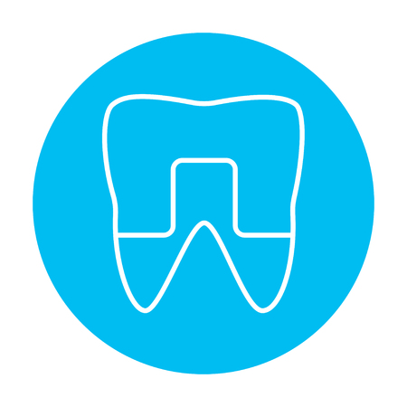 crowned: Crowned tooth line icon for web, mobile and infographics. Vector white icon on the light blue circle isolated on white background.