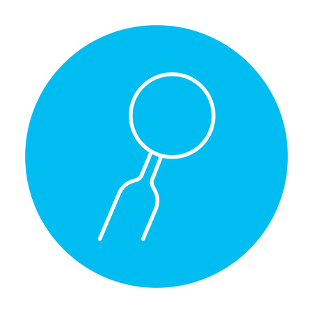 indirect: Dental mirror line icon for web, mobile and infographics. Vector white icon on the light blue circle isolated on white background.