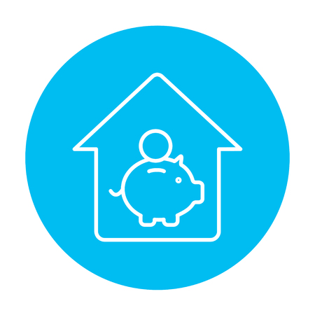 House savings line icon for web, mobile and infographics. Vector white icon on the light blue circle isolated on white background.