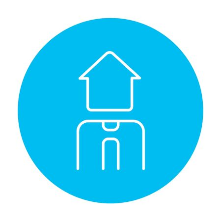 renter: Real estate agent line icon for web, mobile and infographics. Vector white icon on the light blue circle isolated on white background. Illustration