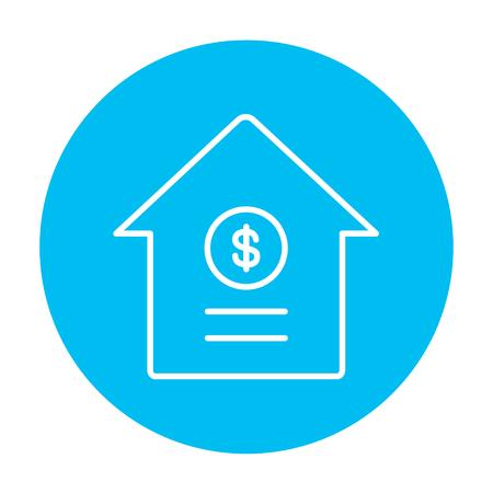 signos de pesos: Casa con el icono de línea de símbolo de dólar para web, móvil y la infografía. Vector icono blanco sobre el círculo azul de luz aislados sobre fondo blanco.