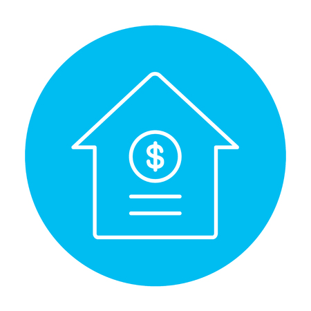 real estate sign: House with dollar symbol line icon for web, mobile and infographics. Vector white icon on the light blue circle isolated on white background.