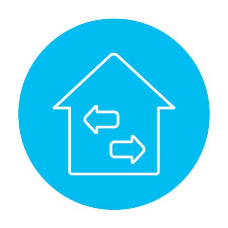 resale: Property resale line icon for web, mobile and infographics. Vector white icon on the light blue circle isolated on white background.