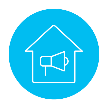 insure: House fire alarm line icon for web, mobile and infographics. Vector white icon on the light blue circle isolated on white background.
