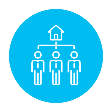 renter: Three real estate agents line icon for web, mobile and infographics. Vector white icon on the light blue circle isolated on white background. Illustration